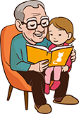 Grand-père de 60 ans avec petit-enfant