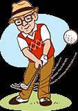 Grand-père, 60 ans, en jouant golf