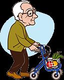 Grand-père 90 ans avec Walker