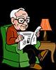 Grand-père, 80 ans, lisant le journal