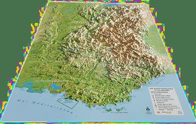 Carte en relief Alpes - Cadeau grand-père
