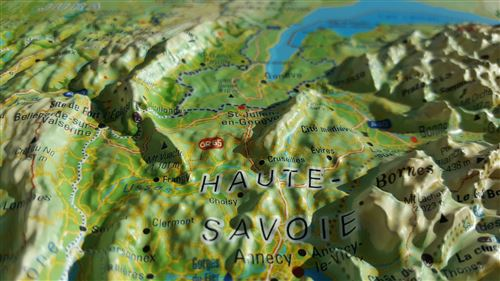 Carte en relief Alpes françaises - detail