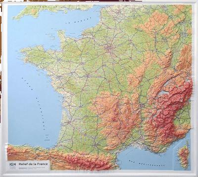 Carte en relief France - Cadeau pour Grand-père