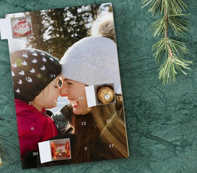 calendrier de l'avent avec photo et chocolat - cadeau pour grand-père