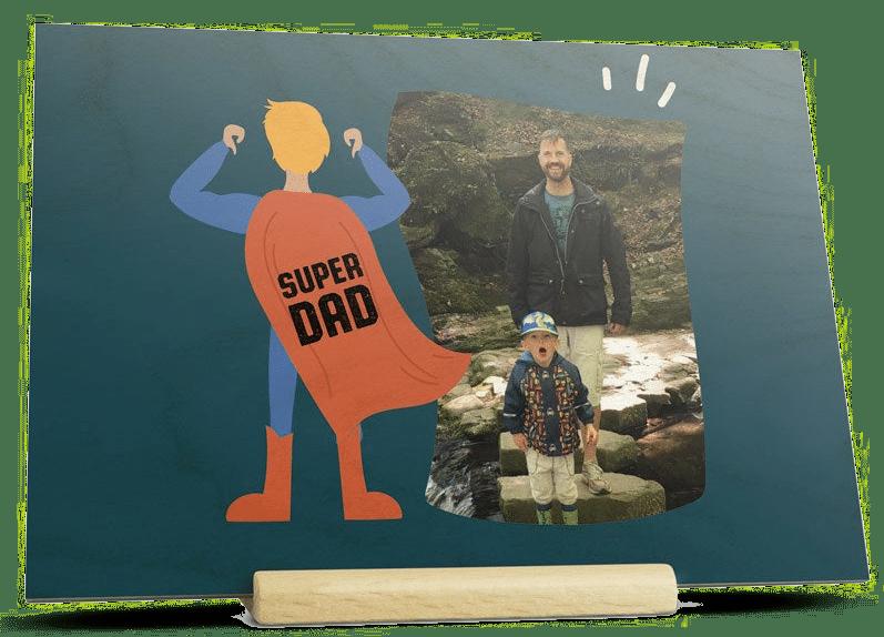 Carte de Fête des Pères en bois - Cadeau pour papa